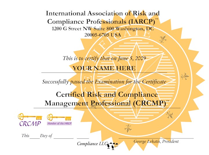 Certified Risk and Compliance Management Professional (CRCMP)
